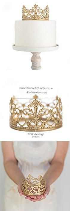 Toppers For Cakes. Gold Crown Cake Topper, Vintage Crown, Small Gold Wedding Cake Top, Princess Cake, The Queen of Crowns.  #toppers #for #cakes #toppersfor #forcakes
