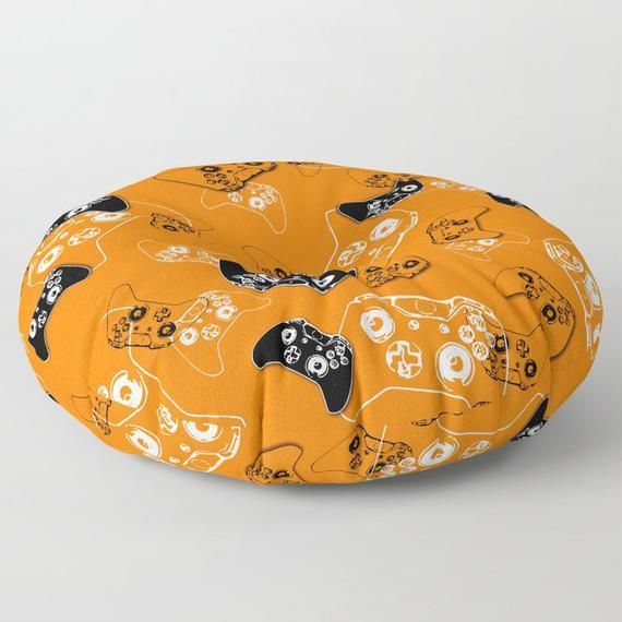 Gamer Floor Pouf, Floor Pillow Seating, Video Game Pillow, Orange Gamer Room, Man Cave Pillow, Gamer Gift, Rec Room Gaming Pillow