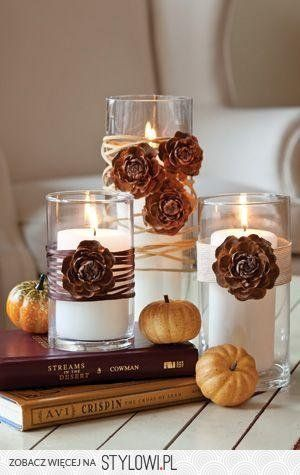 Autumn DIY Long Drink Glass Candle Holders, decorated with pinecone roses and natural yarn... stylowi_pl_inne_jesienne-wariacje-nad-swieca-czyli-niedrogie-dekor