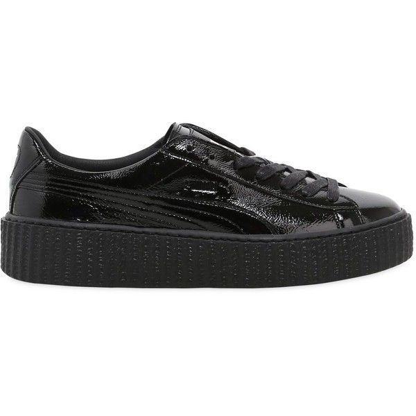 Fenty X Puma Women Rihanna Wrinkled Patent Creeper Sneakers ($145) ❤ liked on Polyvore featuring shoes, sneakers, black, kohl shoes, black patent shoes, puma sneakers, patent sneakers and puma shoes