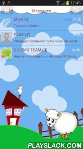 Happy Farm Theme - GO SMS Pro  Android App - playslack.com ,  App SMS-berichten te versturen met schattige huisdieren in het huishouden. De app bevat leuke cartooneske dieren op de boerderij. Wallpaper van het hoofdmenu is zoet tekstberichten lam in een weide naast het huis bevindt zich een grote wolk in de hemel. SMS-berichten in het hoofdmenu zijn bruin. SMS-berichten van vrienden hebben een thema uit de cloud. Elk venster bevat een tekstbericht in de bovenste hoek van het thema met…