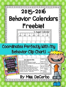 Included in this freebie download are 12 behavior calendars for the 2015-2016 school year.  The calendars contain Whole Brain Teaching rules on the bottom left and a behavior ladder on the right as an easy reminder to parents and students of your expectations!