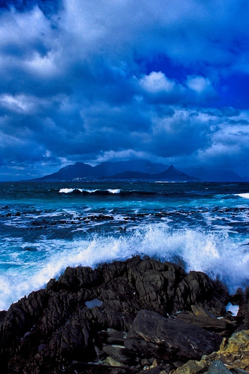 Waves crashing on Robben Island, Cape Town, South Africa.