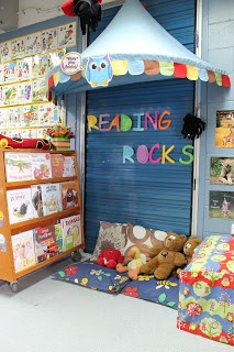 "READING CORNER! READING ROCKS! in my ""alaska place"" a place to chill out  Set up a reading corner! USE THE ""ABC"" FOAM MATS IN BOYS CHANGE ROOM!"
