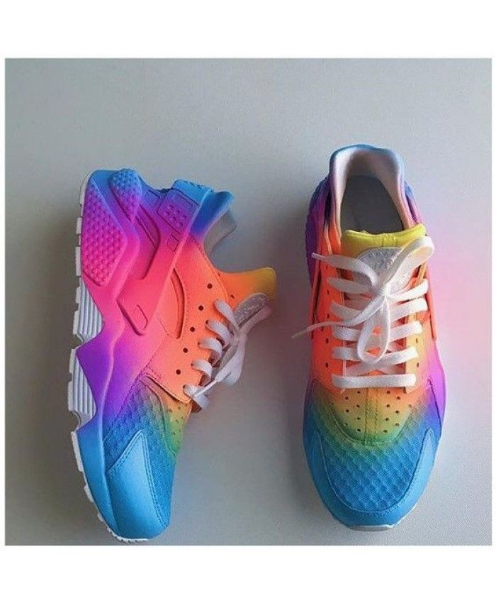 on sale a054f 1ed75 Nike Air Huarache Womens Rainbow Blue Purple Pink Yellow NIKE218