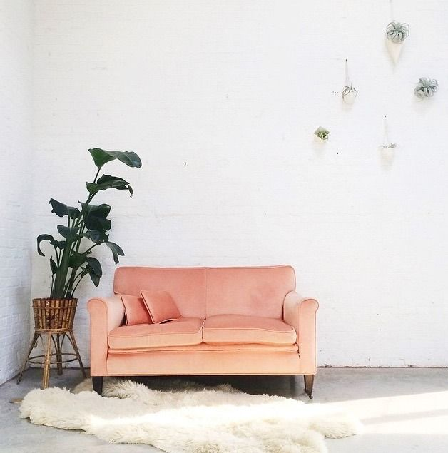 A perfect vintage peach velvet loveseat.