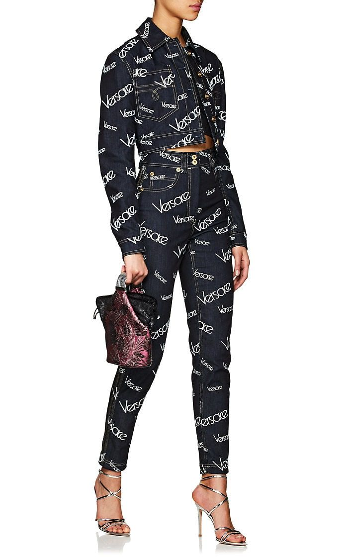 afc3d85a12 Versace Logo Mania High-Rise Jeans in 2019   style   Versace logo ...