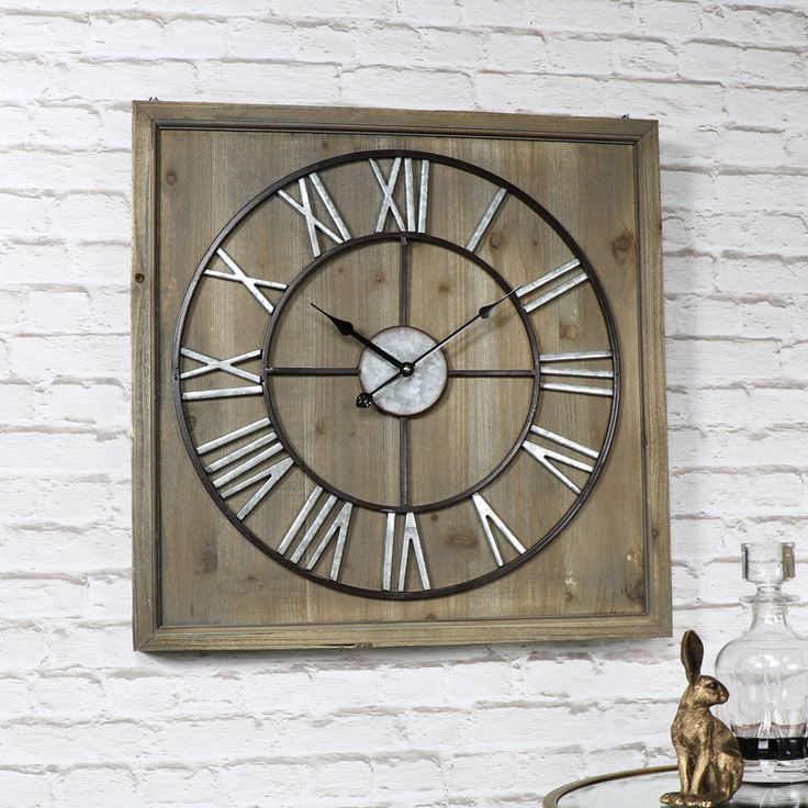 Large Skeleton Clock on Square Wood Frame  #homedecor #clocks #decorideas #homeinspiration #homeinspo #wallart #decor #myhome #vintagestyle #vintage #shabbychic