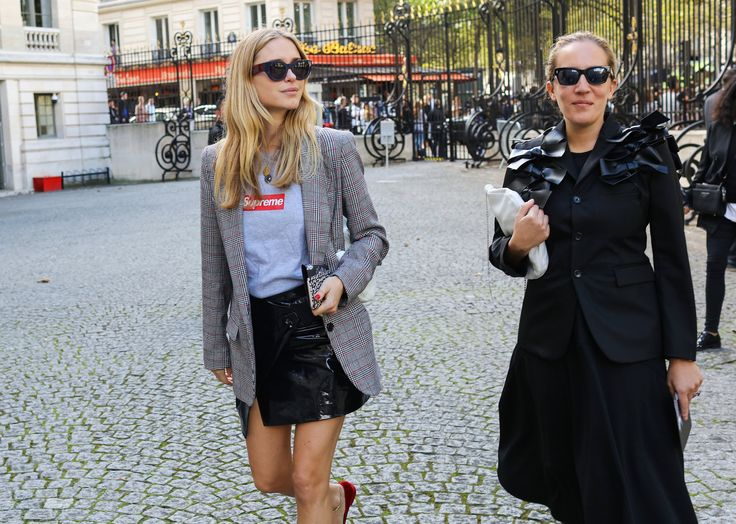 Pernille Teisbaek in a Supreme shirt, Stella Luna shoes, and Malina Joseph Gilchrist