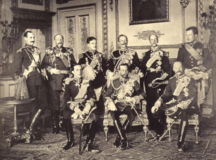 The Nine Sovereigns at Windsor for the funeral of King Edward VII.  Standing, from left to right: King Haakon VII of Norway, King Ferdinand of Bulgaria, King Manuel of Portugal, Kaiser Wilhelm II of the German Empire, King George I of The Hellenes (Greece) and King Albert I of the Belgians (Belgium). Seated, from left to right: King Alfonso XIII of Spain, King-Emperor George V of the Great Britain and King Frederick VIII of Denmark.  Photographed by W. & D. Downey.