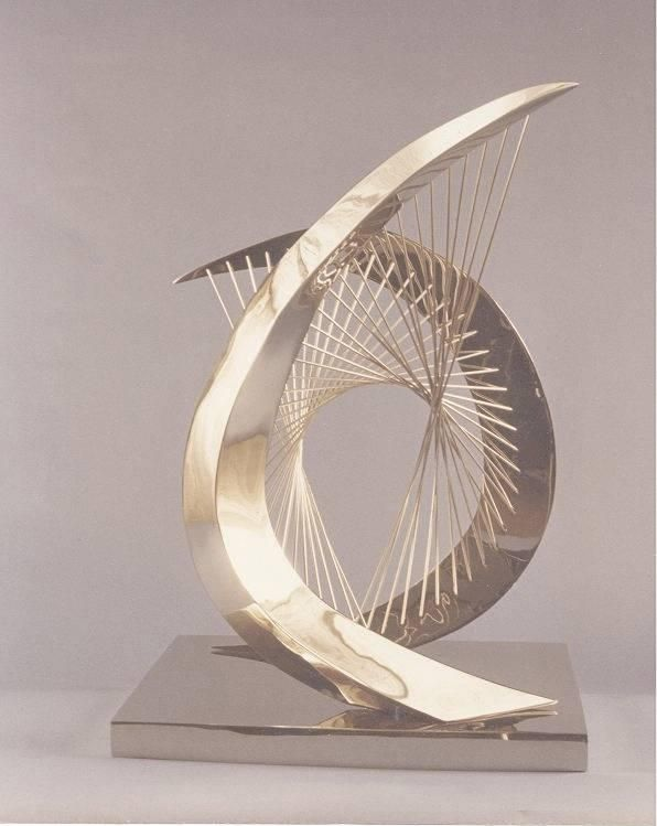 """Hyperbolic Paraboloid Arch Tall Short Rec Base (Sculpture) by Jerry Sanders This is a stainless steel sculpture with a stianless steel base. It is 29"""" x 18"""" x 14"""""""
