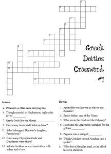 Greek mythology crossword puzzle printables   Printables ...