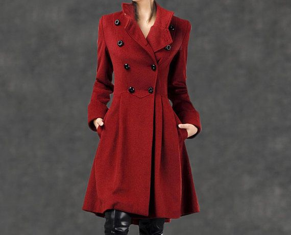 Red Military Coat  Fit-and-Flare Cashmere Wool Swing by YL1dress