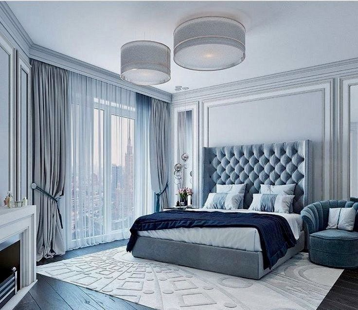 Beautiful Blue And White Bedroom With Blue Tufted Bed Light Blue