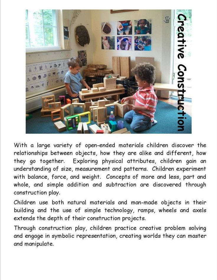 Creative Construction poster by Garden Gate Child Development Center ≈ ≈ For more inspiring pins: http://pinterest.com/kinderooacademy/learning-through-play/