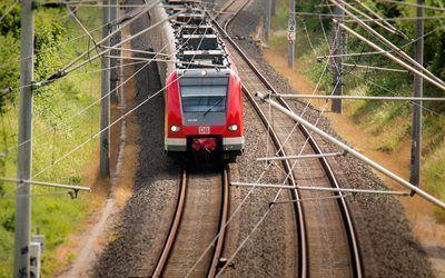 Scarica sfondi treno, ferrovia, rosso locomotiva