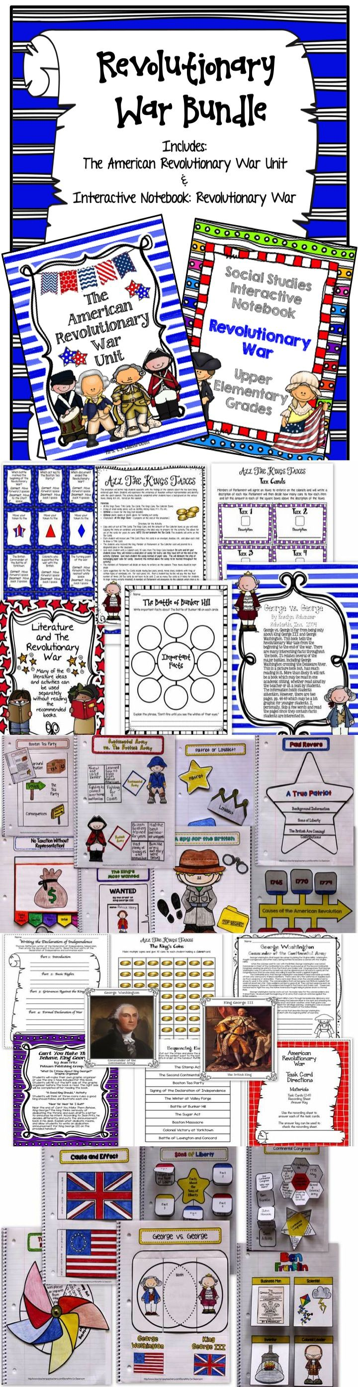 This large American Revolutionary War BUNDLE includes my American Revolutionary War UNIT  and INTERACTIVE NOTEBOOK.  The unit includes handouts, worksheets, activities, vocabulary cards, reference pages, coloring pages, assessment, images of the revolution, and much more! The INTERACTIVE NOTEBOOK  has templates that compliment the unit. Using both the unit and the interactive notebook pages allows your students to have the complete experience of learning about this period of history!
