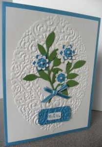 Handmade wedding card using Tiny Tags stamp set & Holiday Frame embossing folder from Stampin' Up!