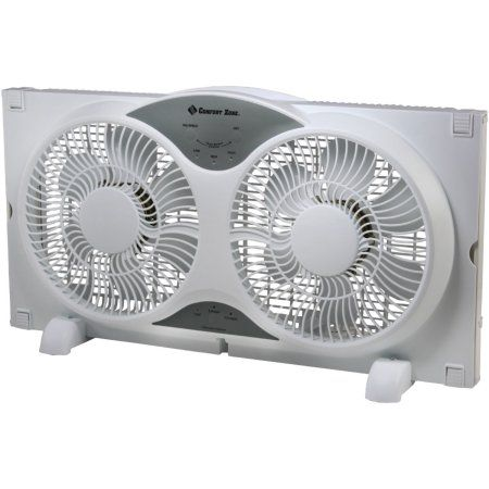 Comfort Zone 326202 Reversible Twin Window Fan With Remote White