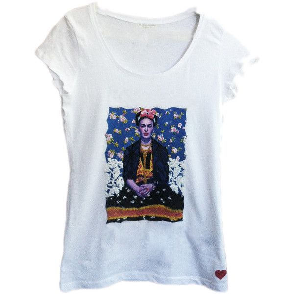 Frida Kahlo ART WORK T-shirt Painted 3d Made To Order (€50) ❤ liked on Polyvore featuring tops, t-shirts, frida kahlo t-shirt, blue t shirt, blue tee and blue top