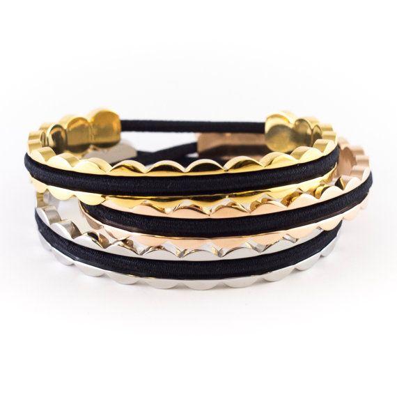 SALE SCALLOPED Hair Tie Bracelet Cuff in Gold  by BelaBracelets