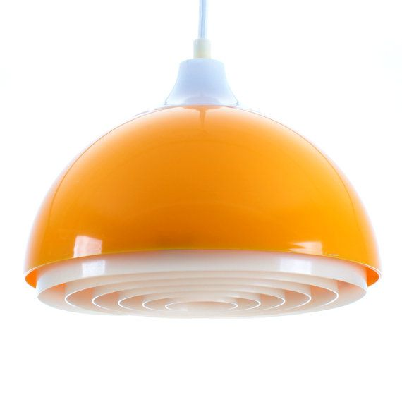 YELLOW plastic pendant by Bent Karlby for by DanishVintageLights