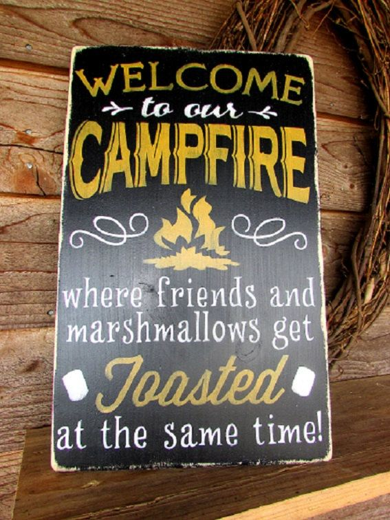 Primitive country wood sign. Campfire funny sign, Patio sign, Sign is made pine, it is painted and distressed, to give a vintage look. Looks