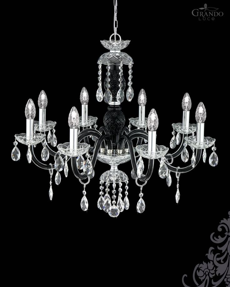 104/8 CH chrome black crystal chandelier with Swarovski Spectra. - GrandoLuce
