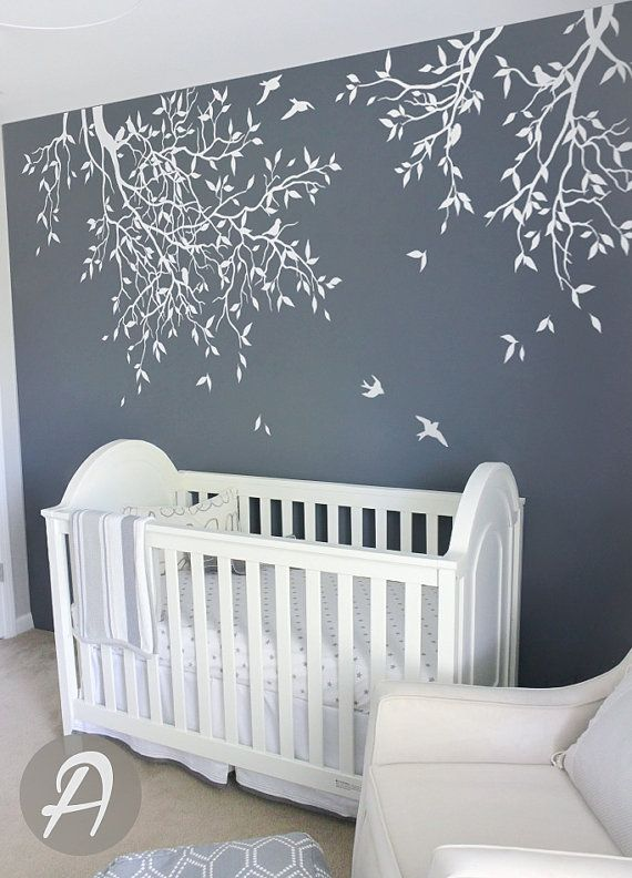 Tree and birds wall sticker White tree wall sticker for nursery Wall sticker for kids room Custom color Branches wall sticker AM004