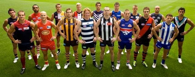Players from the 17 teams of the AFL - Australian Football League...