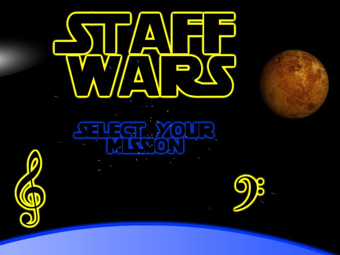 Staff Wars - excellent free note-naming games with a space theme. Great for middle school and works really well on an interactive whiteboard. One of the many games from The Music Interactive