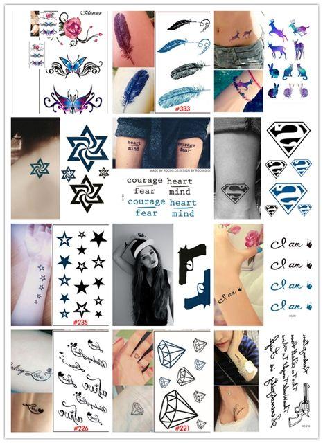 New Black White Stars Design Waterproof Temporary Tattoo Stickers Woman Sexy Fake Tattoos Sticker For Women Body Art