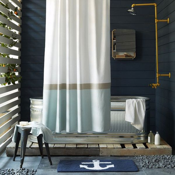 eclectic bathroom with tin freestanding bathtub, pale shower curtain, boat anchor bath mat... Nautical Bath Mats Perfect for a Seaside Summe...