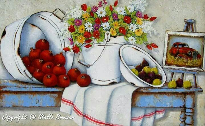 Stella Bruwer white enamel basin with figs, white enamel bucket with flowers, white enamel tub with pomegranates white towel with red stripe framed picture  on rusty blue table