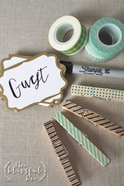 Washi Tape and Clothes pins as Place Card Holders!