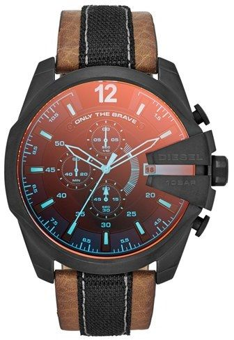 DIESEL® 'Mega Chief' Leather Strap Watch, 51mm