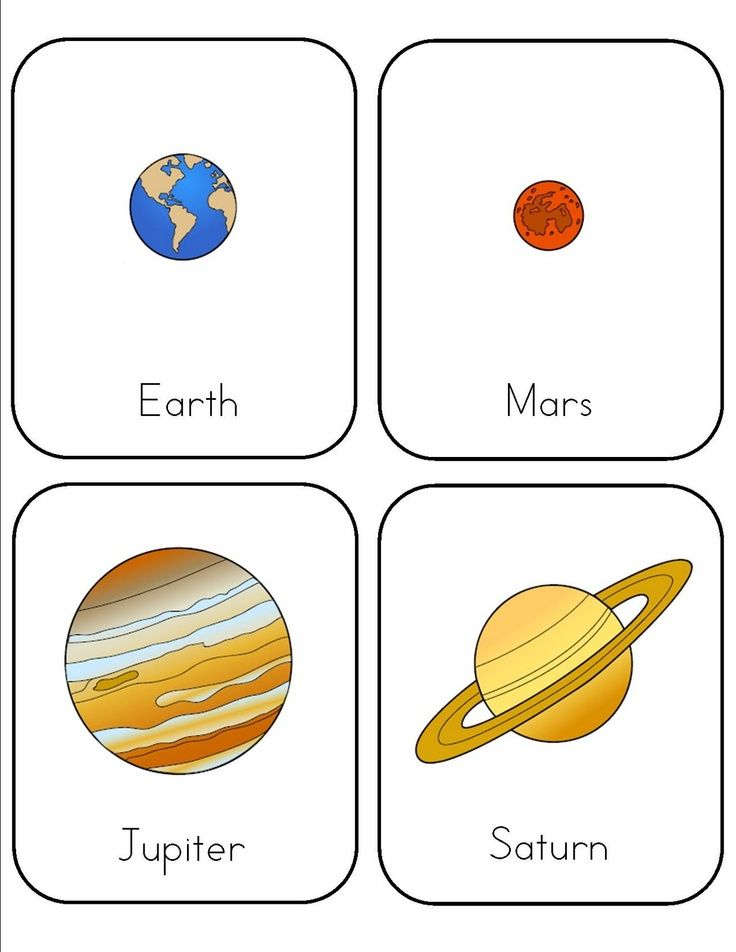 Preschool lesson on Space. Print two sets and play Go Fish
