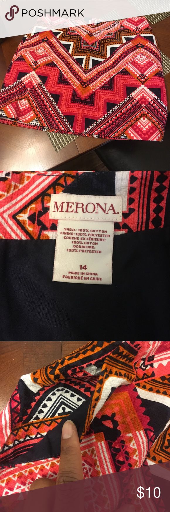 Merona tribal print skirt Beautiful bold skirt! Cute to dress up or down. Causally wear with pumps or sneakers! You'll get tons of compliments! Merona Skirts Mini