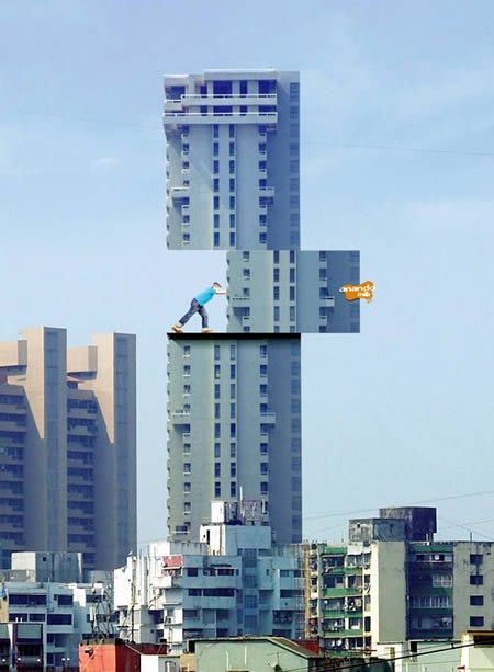 Anando Milk, from India, wanted to increase milk consumption among children, so the McCann Erikson Agency came up with this amazingly creative ad placed on one of Mumbai's buildings, where you can see a child strong enough --a benefit of the milk, of course-- to move part of the building itself.
