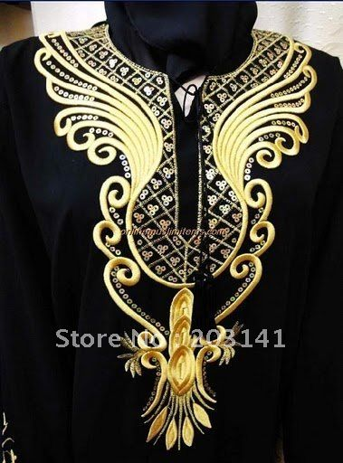 black abaya with gold/black embroidery