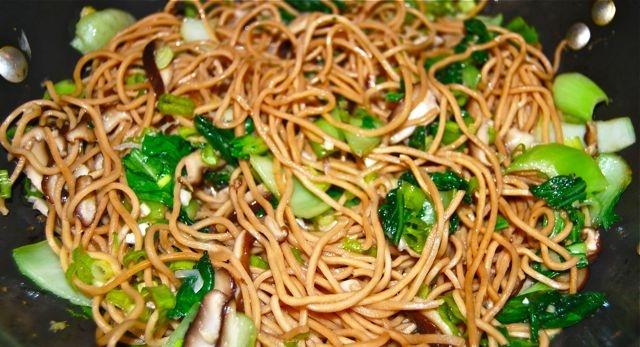Long Life Fertility Noodles With Happy Shrimp Recipe — Dishmaps