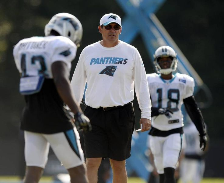 Carolina Panthers head coach Ron Rivera watches his players during a scrimmage against the Miami Dolphins at the Carolina Panthers Training Camp at Wofford College in Spartanburg, SC on Wednesday, August 19, 2015.