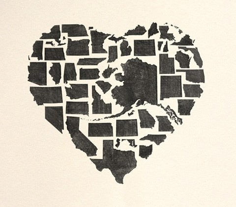 state art.: Wall Art, America Heart, 50 States, States Art, America Lov Heart, States Designtypographygigart, U.S. States, United States, Us Maps