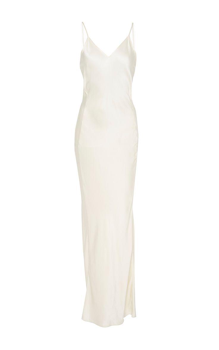 Seamfront Silk Slip Dress  by AWAVEAWAKE for Preorder on Moda Operandi