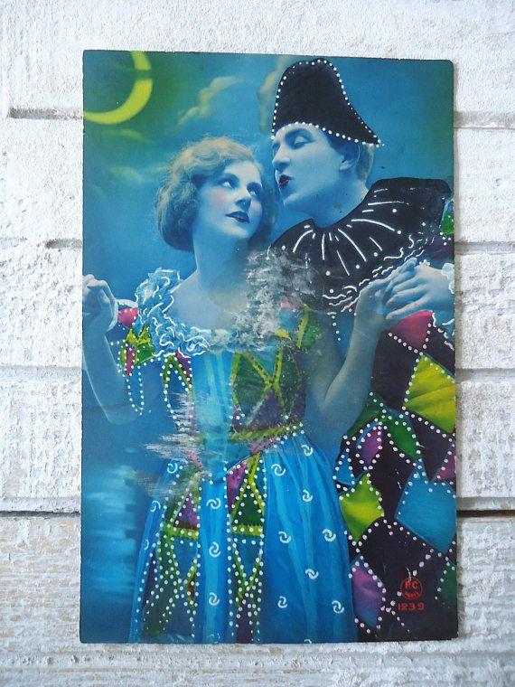 Antique Pierrot postcard  Colombine clown suit collar hat