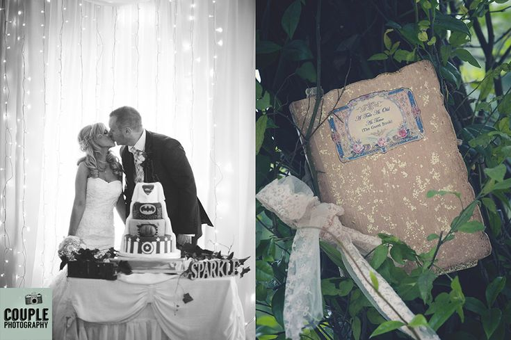 The bride & groom with their marvel theme cake. The fairytale guestbook…