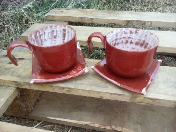 Ceramic burgundy mugs by Muddymood on Etsy