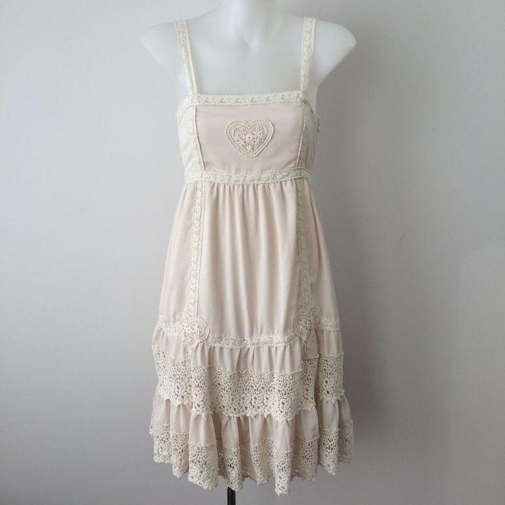 YUMI Lace Dress Size SMALL Cream Boho Gypsy Heart ModCloth Crochet Handmade  | eBay