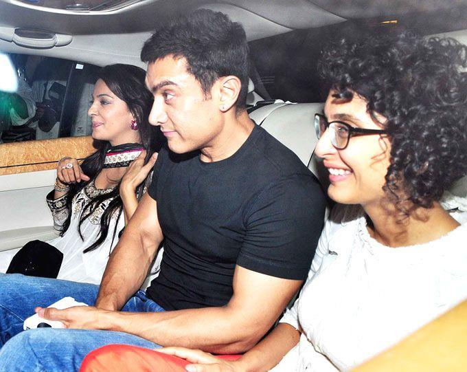 Juhi Chawla with Aamir Khan and Kiran Rao