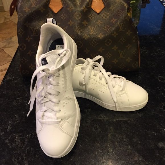 Adidas all white sneakers All white never worn sneakers . I love them too big Adidas Shoes Athletic Shoes